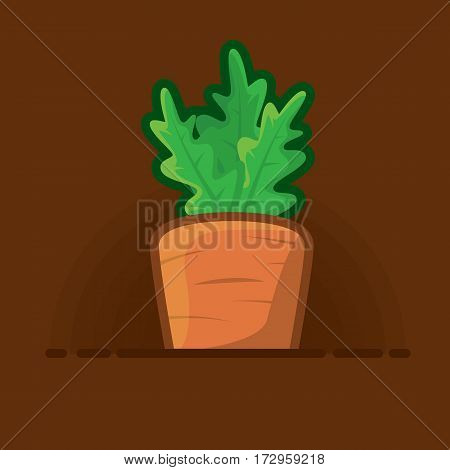vector illustration juicy carrots with the green tops of the growing beds.