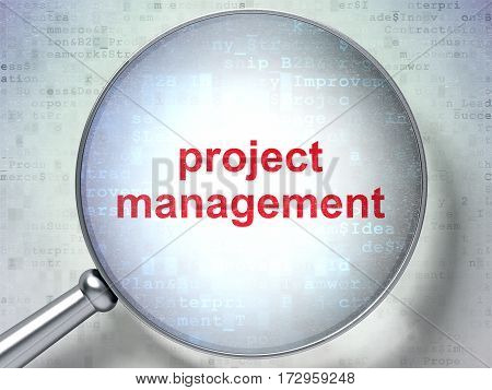 Business concept: magnifying optical glass with words Project Management on digital background, 3D rendering