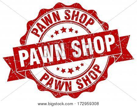 pawn shop. stamp. sign. seal. round. retro. ribbon