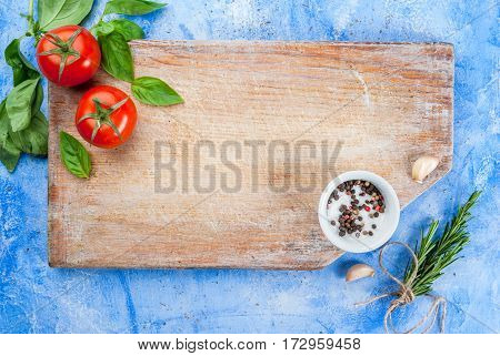 Table With Spices And Herbs For Cooking