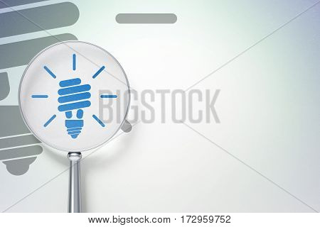 Business concept: magnifying optical glass with Energy Saving Lamp icon on digital background, empty copyspace for card, text, advertising, 3D rendering