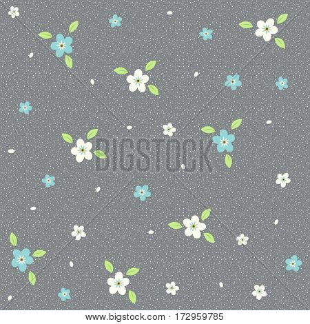 Seamless pattern with flowers on a gray background. It can be used for packing of gifts, tiles fabrics backgrounds. Raster copy.