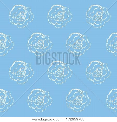 Seamless pattern with white roses on a blue background. It can be used for packing of gifts, tiles fabrics backgrounds. Raster copy.