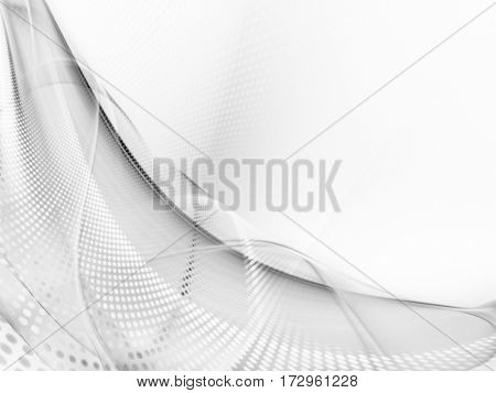 Abstract white texture element. Fractal graphics. Composition of curves and mosaic halftone effects.