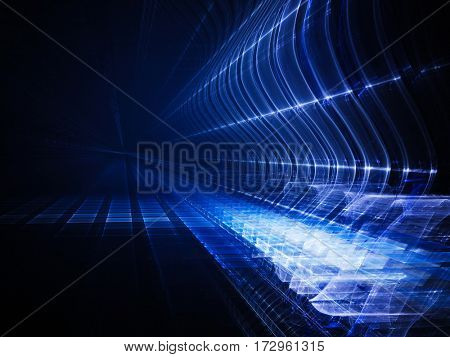 Abstract background element. Fractal graphics. Three-dimensional composition of glowing grids and wave forms. Information technology or science concept. Blue and black colors.