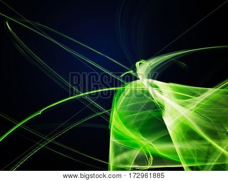 Abstract background element. Fractal graphics. Composition of curves and mosaic halftone effects. Green and black colors.