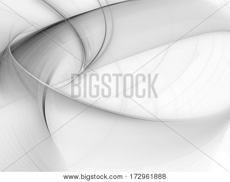 Abstract white background. Fractal graphics. Composition of curves and mosaic halftone effects.