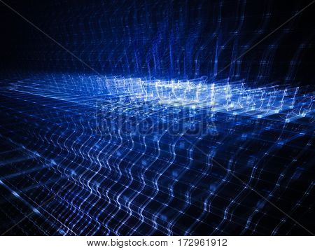 Abstract background element. Fractal graphics series. Three-dimensional composition of repeating grids. Information technology concept. Blue and black colors.