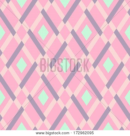 Vector geometric seamless argyle pattern with lines and tiles in soft pink and mint green colors. Modern bold print with diamond shape for fall winter fashion. Vintage plaid background in retro style