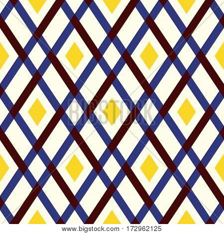 Vector geometric seamless argyle pattern with lines and tiles in bright yellow, blue, and brown. Modern bold print with diamond shape for fall winter fashion. Vintage plaid background in retro style