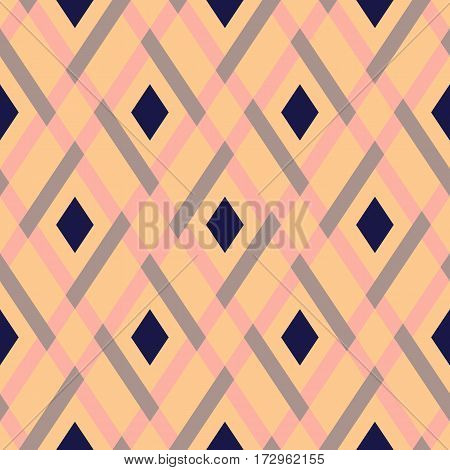 Vector geometric seamless argyle pattern with lines and tiles in pastel pink color. Modern bold print with black diamond shape for fall winter fashion. Vintage plaid background in retro style
