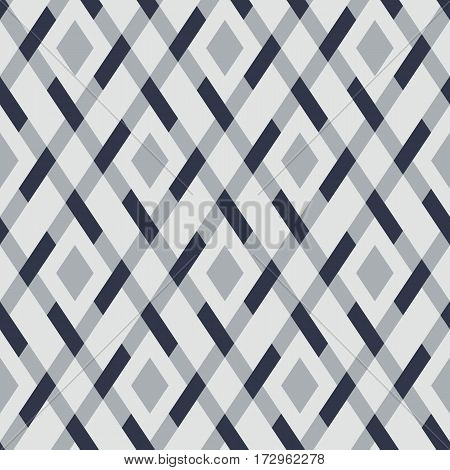 Vector geometric seamless argyle pattern with lines and tiles in monochrome grey color. Modern bold print with diamond shape for fall winter fashion. Vintage plaid background in retro style
