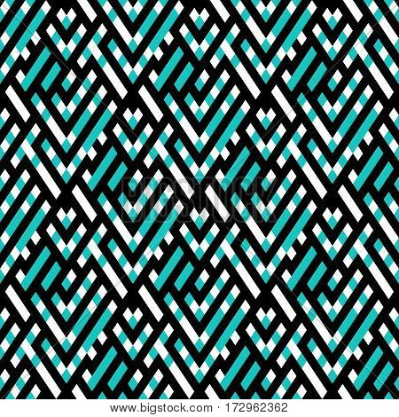 Abstract ethic geometric pattern with maze, diagonal stripes and lines in mint green and white. Op art seamless geometric background. Simple tribal bold print with ethnic african and moroccan motif