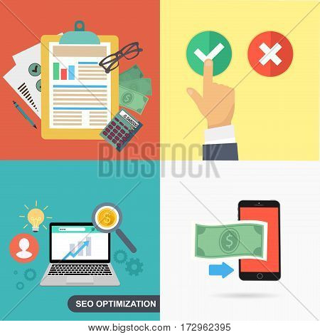 Flat designed business concepts with work items. Documents and mobile phone with money, laptop with charts and hand with answer options.