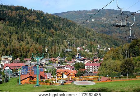 View of the Szczyrk in Poland (Beskidy Mountains)