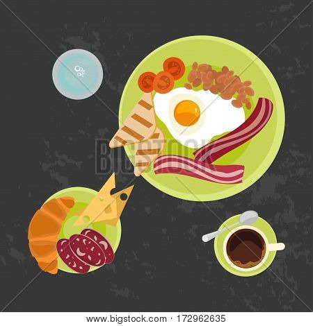 Breakfast with croissant, fried eggs with bacon and cup of coffe on Black background. Top view Vector illustration eps 10
