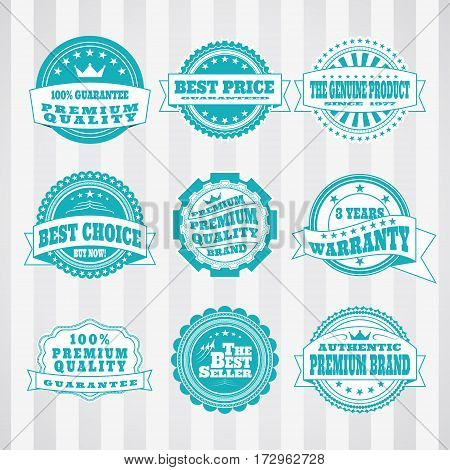 Vintage turquoise and white labels vector set to promote premium products.