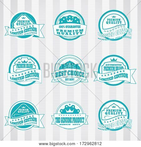 Vintage white and turquoise labels vector set for advertising premium product. Vector set of turquoise and white labels for website.