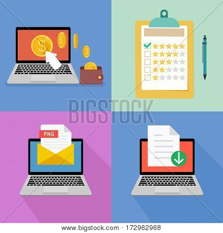 Set network business concept and work online. Freelance and earnings on the Internet. Evaluation of the stars on the folder.