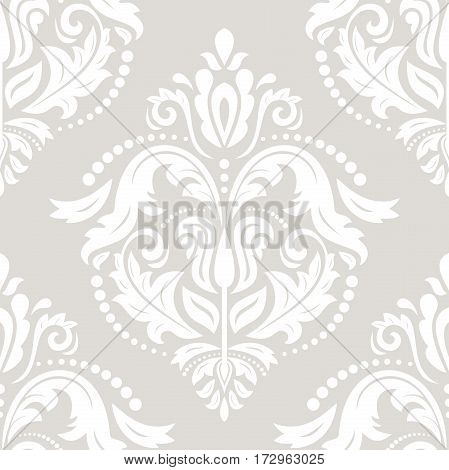 Seamless light ornament. Modern geometric pattern with royal lilies