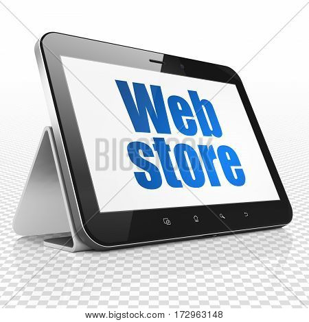Web design concept: Tablet Computer with blue text Web Store on display, 3D rendering