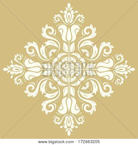 Oriental pattern with arabesques and floral elements. Traditional classic ornament. Golden and white pattern