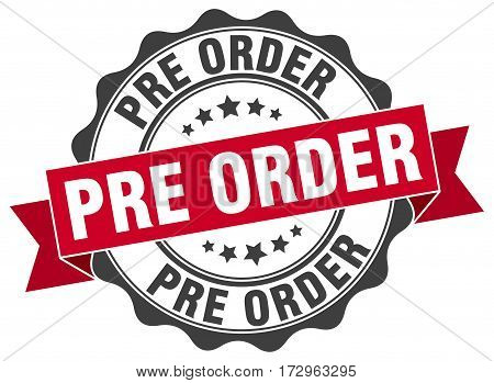 pre order. stamp. sign. seal. round. retro. ribbon