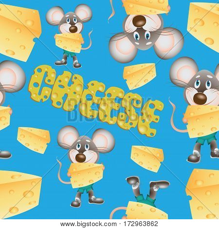 Pieces of cheese and mouse. Seamless pattern. Composition for design menus, recipes, and product packages.