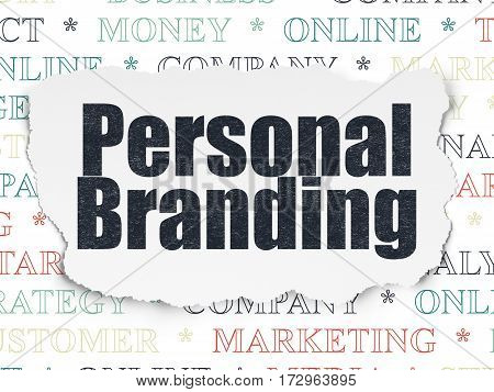 Marketing concept: Painted black text Personal Branding on Torn Paper background with  Tag Cloud