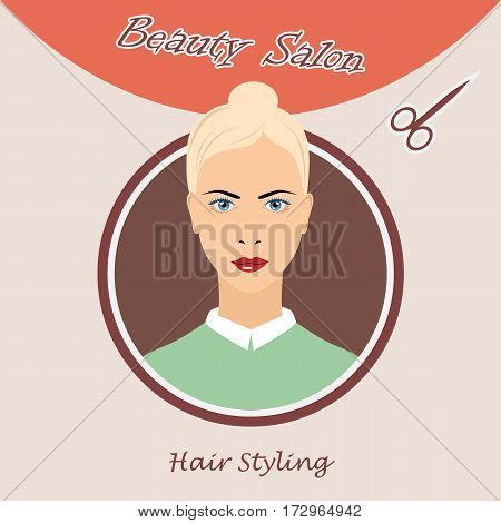 Beautiful woman vector logo template for hair salon beauty salon cosmetic procedures spa center. vector logo template for hair salon