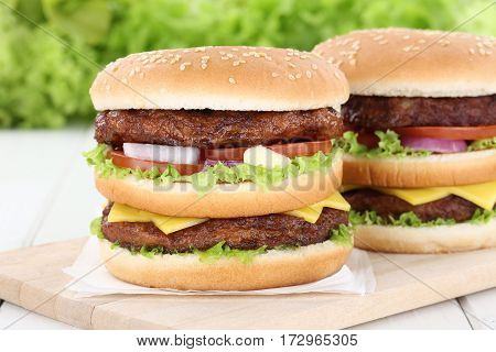 Double Burger Hamburger Tomatoes Cheese