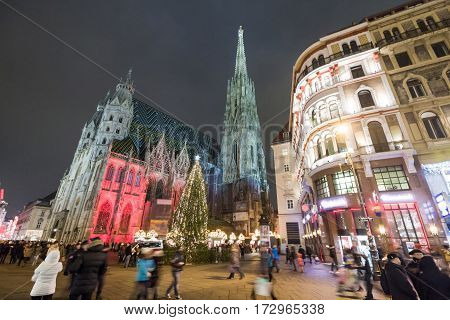 Crowded St. Stephan's square during Christmas holidays