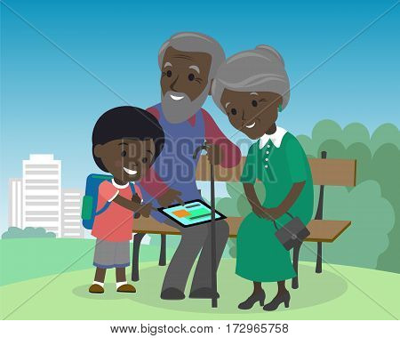 Grandson boy teach grandparents use tablet pc. Seniors elderly learning education modern technology internet african indian brown skin grandfather grandmother son vector illustration cartoon