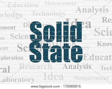 Science concept: Painted blue text Solid State on White Brick wall background with  Tag Cloud