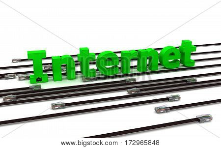 3D render. Internet - green label and many black cables