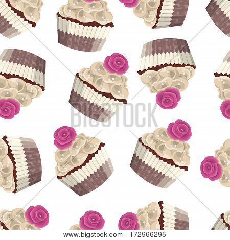 Seamless vector pattern of delicate pastries. Sweet cake with chocolate cream and rose striped box on white background. Design concept for fabric, textile printing, wrapping paper or web