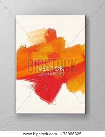 Vector banner orange shapes isolated on white background. Hand drawn abstract paint brush strokes. Watercolor elements.