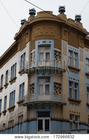 Art nouveau house facade in Zagreb, Croatia