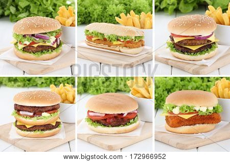 Hamburger Collection Set Cheeseburger And Fries Beef Tomatoes Lettuce Cheese