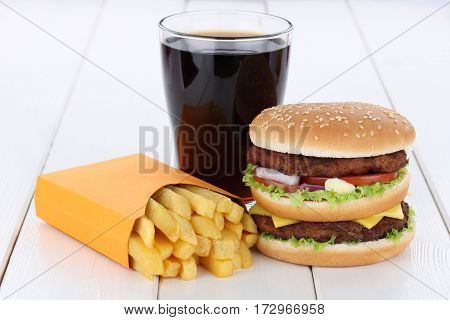 Double Burger Hamburger And Fries Menu Meal Combo Cola