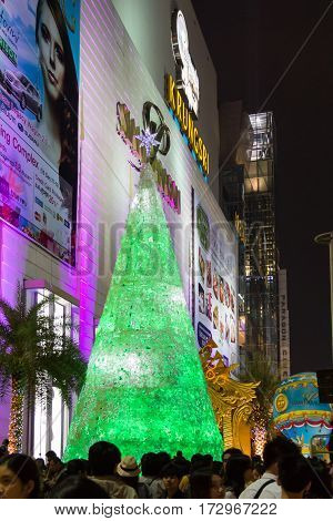 Bangkok, Thailand - December 24, 2011: Christmas Light Decoration for Winter Festival at Siam Paragon Shopping Mall
