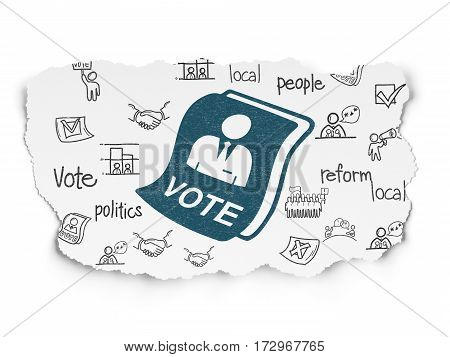 Political concept: Painted blue Ballot icon on Torn Paper background with  Hand Drawn Politics Icons