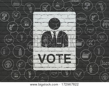 Politics concept: Painted white Ballot icon on Black Brick wall background with Scheme Of Hand Drawn Politics Icons