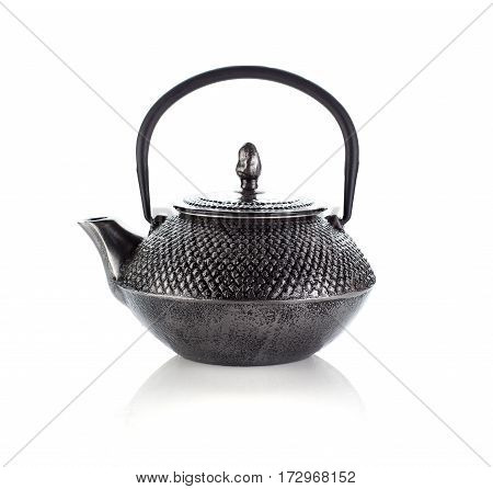 Dark Chinese Teapot Isolated On White Background.