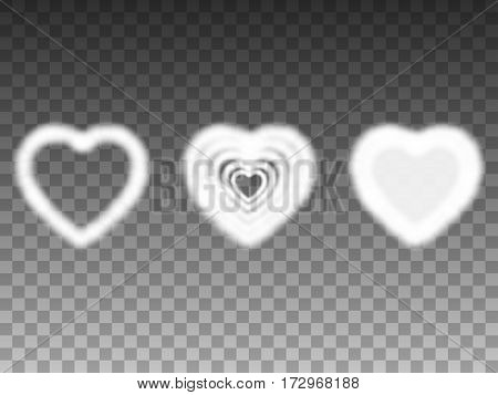 Vector illustration of a set of air heavenly smoke hearts. Isolated transparent background. Elements for design.