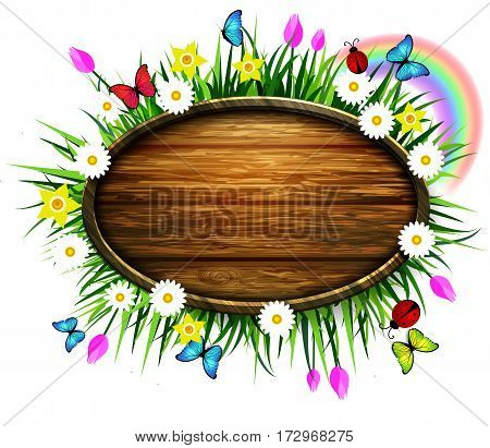 Spring wooden board on a loan with flowers blue butterflyes and ladybug