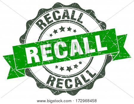 recall. stamp. sign. seal. round. retro. ribbon