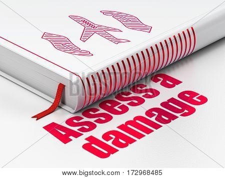 Insurance concept: closed book with Red Airplane And Palm icon and text Assess A Damage on floor, white background, 3D rendering