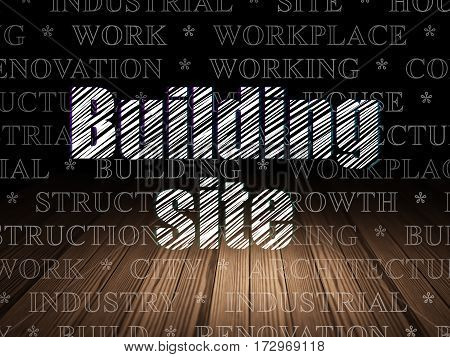 Constructing concept: Glowing text Building Site in grunge dark room with Wooden Floor, black background with  Tag Cloud