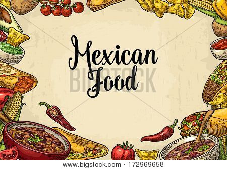 Mexican traditional food restaurant menu template with Guacamole Quesadilla Enchilada Burrito Tacos Nachos Chili con carne and ingredient. Vector color engraving illustration on beige background